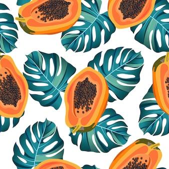 Papaya trägt nahtloses muster mit tropischen blättern früchte