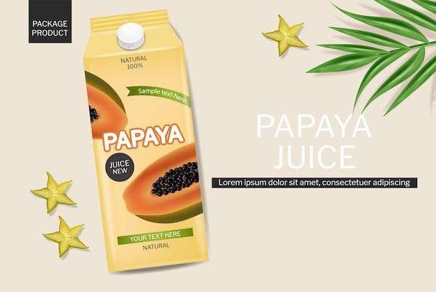 Papayasaftgetränk vektor realistisch produktplatzierungspaket frischer natürlicher saft