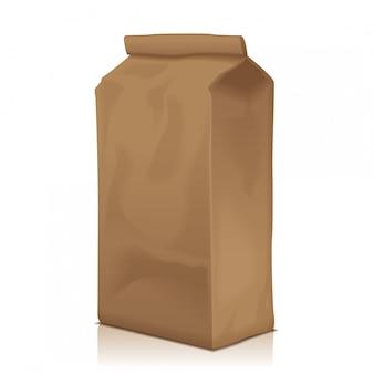 Paper food bag packung mit kaffee, mehl, zucker, pfeffer, snacks oder zum mitnehmen. vorlage für produktpaket