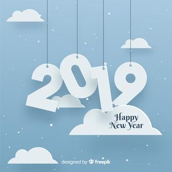 Papercut-hintergrund des neuen jahres 2019