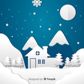 Papercut stil weihnachten hintergrund