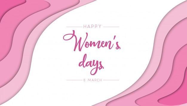 Papercut-zusammenfassungshintergrund der frauen tagesmit rosa farbe