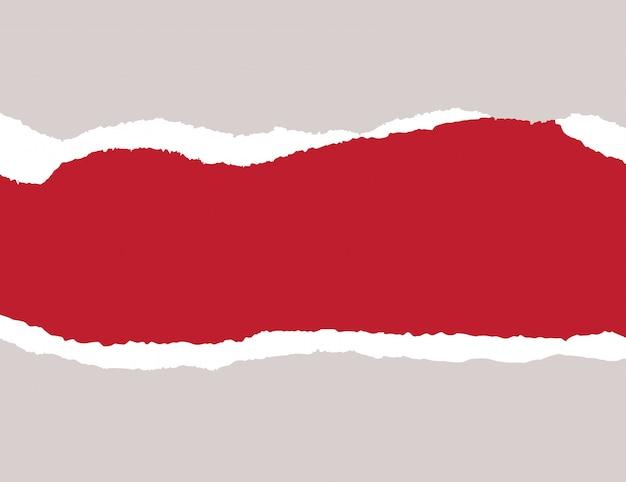 Papier auf rotem hintergrund abgerissen