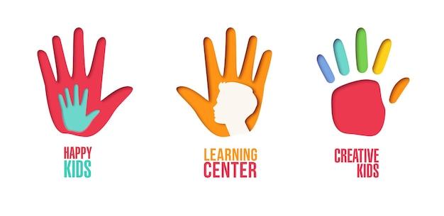 Papier ausgeschnitten logo-vorlagen-set mit kinderhänden. origami-kindersymbole für branding, broschüre, identität. vektor-illustration