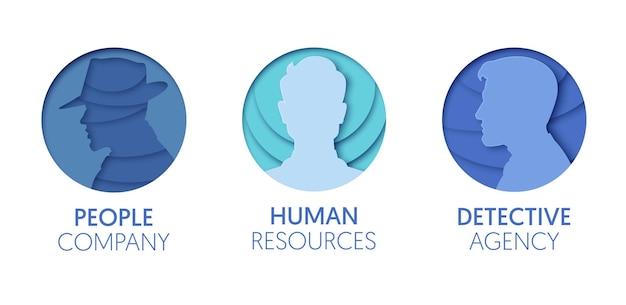 Papier ausgeschnitten logo-vorlagen-set mit menschen. origami-mann-kopf-menschliche symbole für branding, broschüre, identität. vektor-illustration
