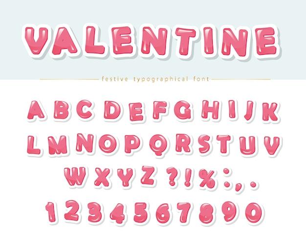 Papier ausgeschnitten rosa glänzend schriftart.