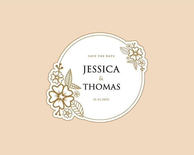 Papier femininer botanischer kranz logo-aufkleber für bouquet spa beauty salon boutique hochzeitskarte