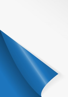 Papier gebogene ecke zum freien füllen der blauen farbe.