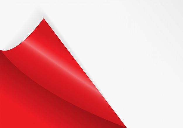 Papier gebogene ecke zum freien füllen von roter farbe.