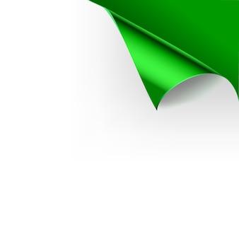 Papier gekräuselte glänzende seiteneckenfalten. illustrationsschablone für die grüne farbe des plakats