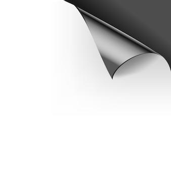 Papier gekräuselte glänzende seiteneckenfalten. illustrationsschablone für die schwarze farbe des plakats