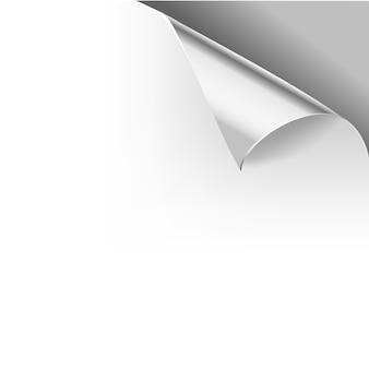 Papier gekräuselte glänzende seiteneckenfalten. illustrationsschablone für graue plakatfarbe