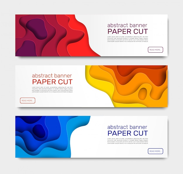 Papier geschnittene banner. abstrakte papierformen, gekrümmte schichten mit schatten. kreative banner-vorlagen der geometrischen schneidpapierekunst