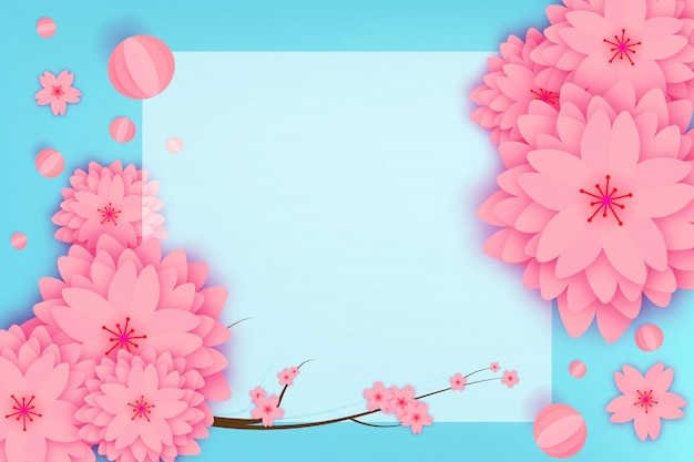 Papier geschnittene blumengrußkarte