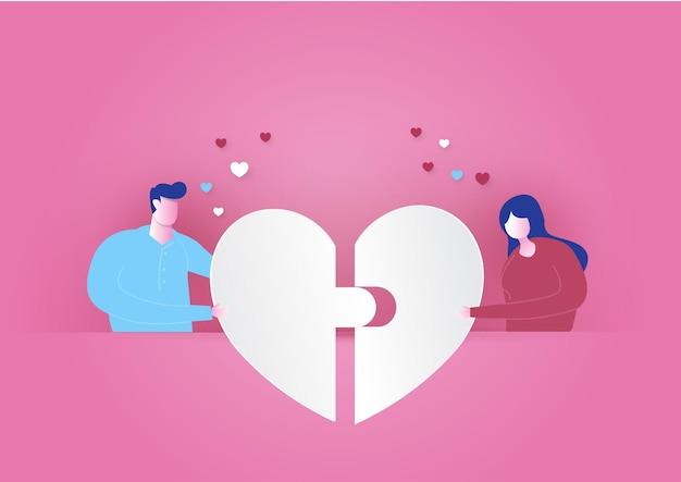 Papier geschnittene herzen für romantischen valentinstag