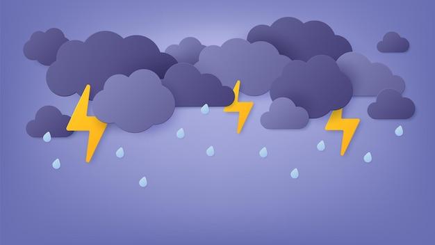 Papier geschnittener regen. regnerischer himmel mit wolken und gewitter. origami-frühlingssturm mit blitz und donner. monsunwetterlandschaft vektorgrafiken. illustration blitz origami donner
