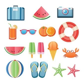 Papier-kunstdesign der sommeraufkleber-ikone gesetzter