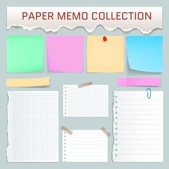 Papier-memo-modellsatz. realistische abbildung von 10 papiernotizmodellen für web