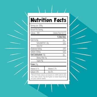 Papier mit ernährungstatsachenvektor-illustrationsdesign