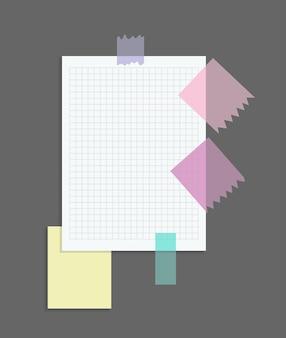 Papier notizen aufkleber. platz für memo-nachrichten auf papierbögen.