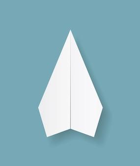 Papier origami flugzeug symbol auf blauem hintergrund