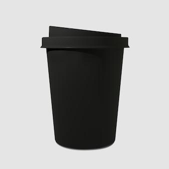Papier realistische schwarze kaffeetasse. kaffeebecher. einwegglas für getränke.