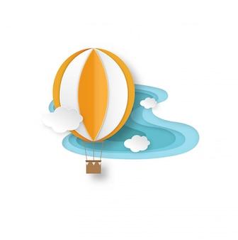 Papier schnitt heißluftballon auf hintergrundillustrationsvektor des blauen himmels