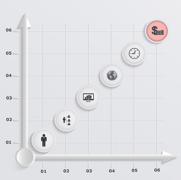 Papier schrittweise wirtschaftsdiagramm. infografiken mit symbolen