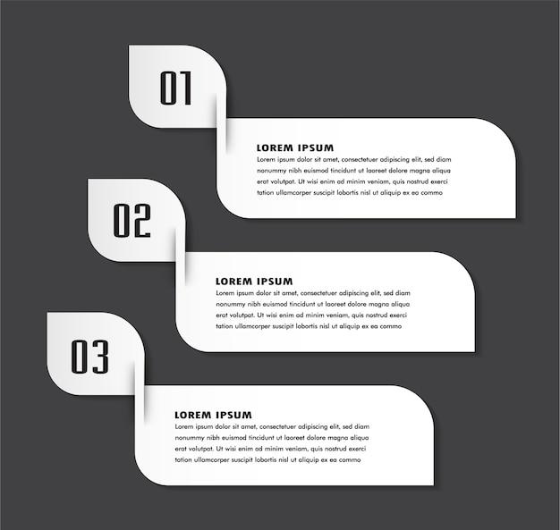Papier-textfeld-vorlage, banner infografiken