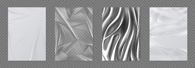 Papier- und foliensatz. zerknittertes weißes papier und transparentes plastikband, realistische texturen aus silberfolie. vector 3d glänzendes metall und nasses papier, seidiger stoff