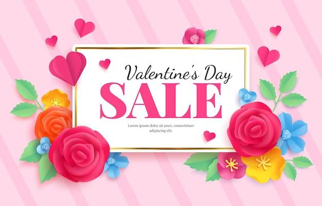 Papier valentinstag verkauf. liebesfeiergutscheinbanner mit blumen und herzen. rabattmarkt-vektorwerbung in origami. werbung, shopping-romantik, werbebanner-illustration für den februar-tag