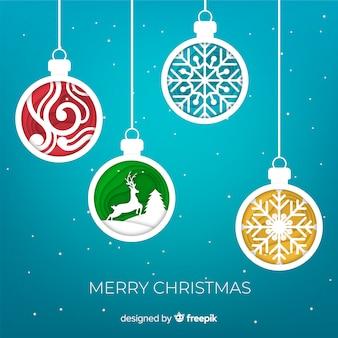 Papier verziert Weihnachtsbälle Hintergrund