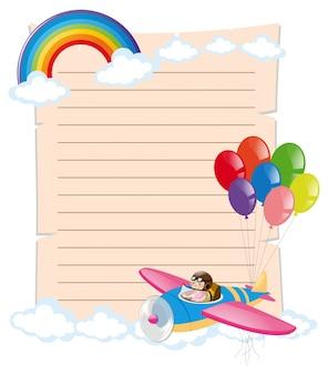 Papier vorlage mit kind auf dem flugzeug