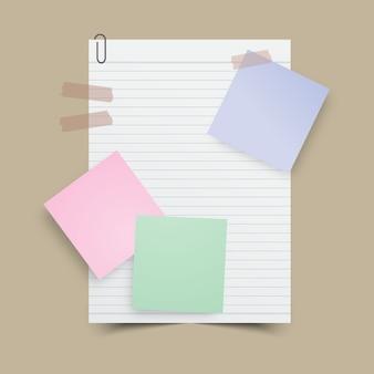 Papieranmerkung mit klebriger anmerkung und band. vektorabbildung.