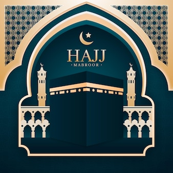 Papierart islamische hadsch-pilgerillustration