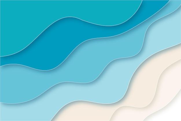 Papierart wellenförmiger strandkonzepthintergrund
