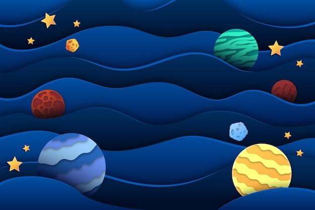 Papierartgalaxienhintergrund mit planeten
