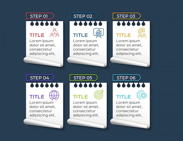 Papierartgeschäft infographic mit sechs schritten