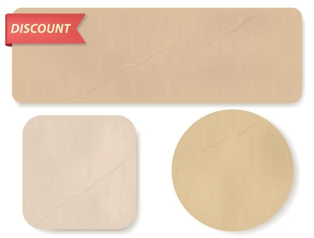 Papierbanner-tags eingestellt. rabattabzeichen für den verkauf und etiketten für große angebote, band- und preisaufkleber. realistische papierrollen