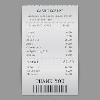 Papierbargeld-verkaufsbeleg