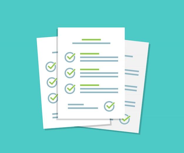 Papierblätter der checkliste für dokumente stapeln sich mit einem häkchen in einem flachen design