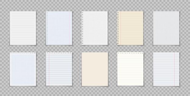 Papierblätter mit linien und quadraten für memo-notizbuch oder buchseite realistische linierte notizblätter