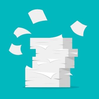 Papierblätter stapeln sich. papierkram und büroalltag. haufen weißer papiere in einem flachen, trendigen stil.