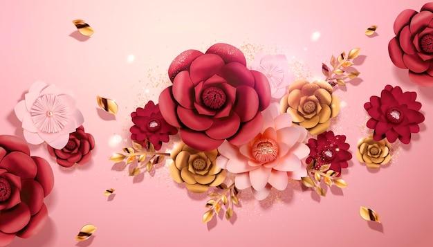 Papierblumen in der roten, rosa und goldenen farbe im 3d-stil