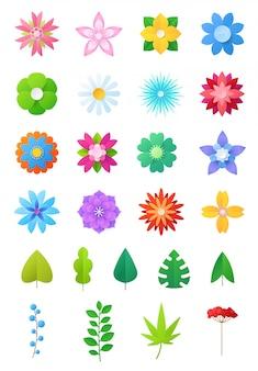 Papierblumenvektorblumendekoration oder geblümte grußkartendekoration für blühende einladung auf geburtstagsillustrationsblumensatz der schönen flora blätter lokalisiert auf weißem hintergrund