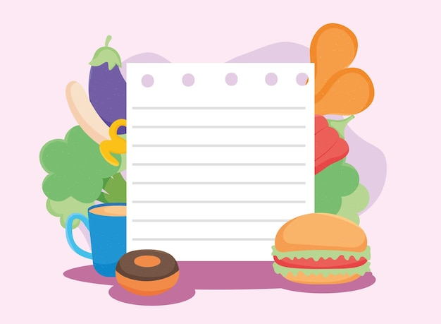 Papierbogen und essen
