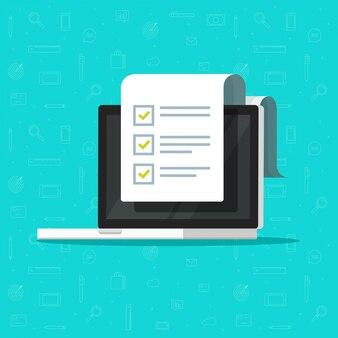 Papierchecklistendokument oder online-aufgabenliste auf laptop-computerillustration flacher cartoon isoliert