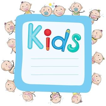 Papierdesign mit babys und mädchen