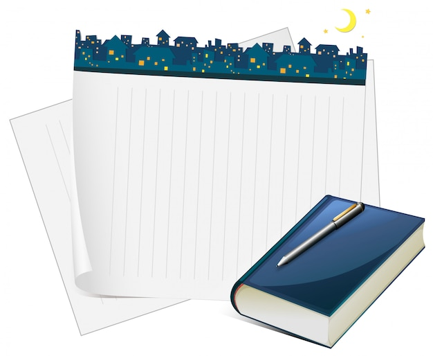 Papierdesign mit stadtansicht nachts