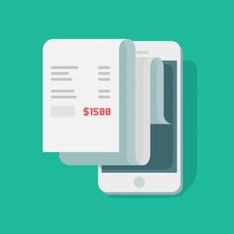 Papierempfangszahlung am handy oder am smartphone mit flacher karikatur des finanzdatenberichts-vektors